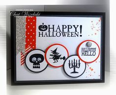 Stampin' Up! ... handmade card ... Halloween greeting ... grouping of ikons on matted circles ... washi tape streameers ... like it!