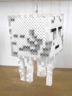 Minecraft Ghast 3D Perler Bead Statue by TheMeltedGeek on Zibbet
