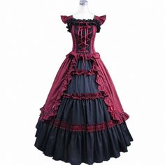 Fancy Dress Store Women's Short Sleeve Ruffles Masquerade Gown Gothic... ($100) ❤ liked on Polyvore featuring dresses, fancy dresses, ruffle dress, masquerade dresses, goth dress and frilly dress