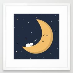 The Cat and the Moon - Framed art print available on Society6  #kidsroomdecor #artprint #catart #cute #cartoon #childrensroomdecor #giftforkids #wallart