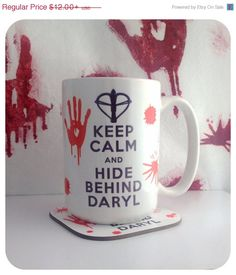 Keep Calm And Hide Behind Daryl for Zombie Walking Dead Fans Large 15oz Mug on Etsy, $12.00