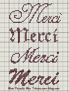 Point de croix ❤️*❤️ Merci Small Cross Stitch, Cross Stitch Designs, Cross Stitch Patterns, Cross Stitching, Cross Stitch Embroidery, Diy Broderie, Cross Stitch Alphabet, Tapestry Crochet, Knitting Charts