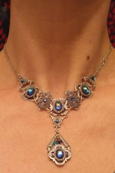 Blue and Silver Victorian Necklace with Czech Glass gems.  Available at my Etsy Shop.  Lainisjewelry