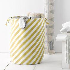 Panier à linge en coton rayures jaune moutarde Roomblush Hamper, Objects, Peignoir, Nursery, Organization, Kids Rooms, Babies, Inspiration, Home Decor