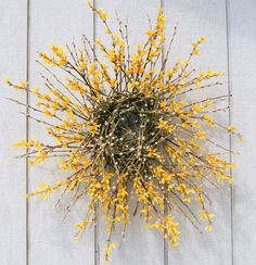 Spring Wreath - Forsythia - Pussy Willow Wreath - Natural Primitive Wreath - SPRING SUNSHINE