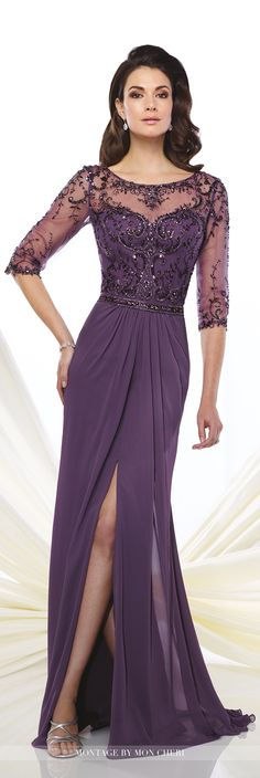 Formal Evening Gowns by Mon Cheri - Fall 2016 - Style No. 216963 - dark purple chiffon evening dress with illusion sleeves