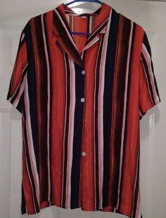 Modeva Woman's Red/Black/White Striped Button Down Shirt Size 40 (XL? PLZ READ) #Modeva #ButtonDownShirt #Casual
