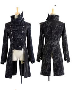 punk fashion for women | WOMEN-MEN-fashion-punk-gothic-rock-black-long-jacket-blazer-coat ...