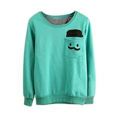 Human Head Appliqued Pocketed Green Sweatshirt | pariscoming