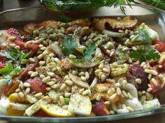 Rezept: Spicy Pfirsichgemüse aus dem Ofen - vegan