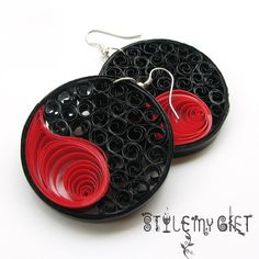 Yin Yang Red & Black  Paper Quilled Earrings by StyleMyGift, $16.00