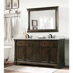 Carrara Marble 60-inch Double Sink Vanity in Coffee Bean/ White Finish with Matching Wall Mirror, 2-piece Set - Free Shipping Today - Overstock.com - 16398875 - Mobile