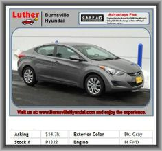 2013 Hyundai Elantra GLS Sedan  4 Door, Bucket Front Seats, Metal-Look Door Trim, Stability Control, Front Ventilated Disc Brakes, Front Head Room: 40.0, Front Reading Lights, Power Remote Driver Mirror Adjustment, Side Airbag, Speed Sensitive Audio Volume Control, Front Suspension Stabilizer Bar, 4-Wheel Abs Brakes, Audio System Memory Card Slot, Headlights Off Auto Delay, Remote Power Door Locks, 1St And 2Nd Row Curtain Head Airbags, Power Windows,