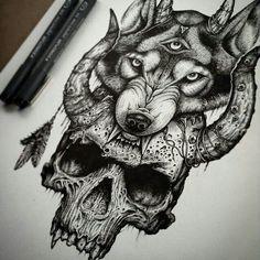 www.flamelikeflower.tumblr.com  Demon wolf #wolf #tattoo #demon #design