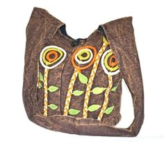 Large stone washed cotton sling bag with dimensional floral design.  http://www.worldtravelart.com/Large_Brown_Cotton_Sling_Bag_Nepal_p/bcb-009.htm