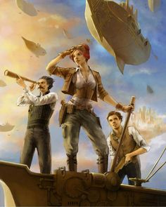 I don't think the Poseys are fleet, but this reminds me of the Poseys...  Steampunk Tendencies | Art by Rita Fei #Illustration #Steampunk #Airship