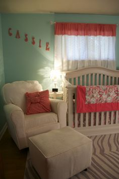 Robin's Egg Blue & Coral Nursery | Project Nursery