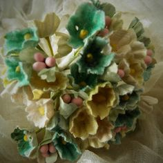 millinery flowers forget me nots   VINTAGE Millinery Flowers Forget Me Nots Yellow & Green Mix for ...