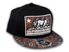 big sale bcbf9 7198e This is a High Quality California Republic Bear on Black and Navy Paisley  Baseball Snapback
