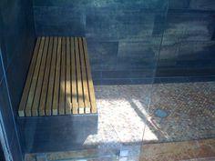 Custom shower bench - teak
