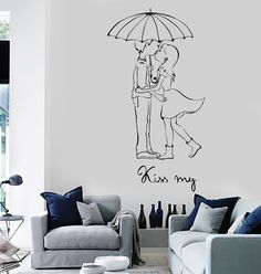 Wall Vinyl Decal Love Couple Kiss My Romantic Bedroom Decor z3698