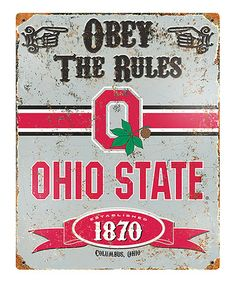 Look at this #zulilyfind! Ohio State Buckeyes Vintage-Inspired 'Obey the Rules' Wall Sign #zulilyfinds