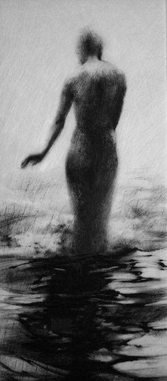 Haunting Figure Drawing Gothic Moody Dark Shadow Crayon Wading Water Fog Fine Art Wander IX.