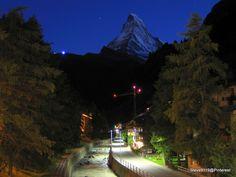 The Matterhorn at night @ Zermatt, Switzerland. Photo by Steve9119@pinterest
