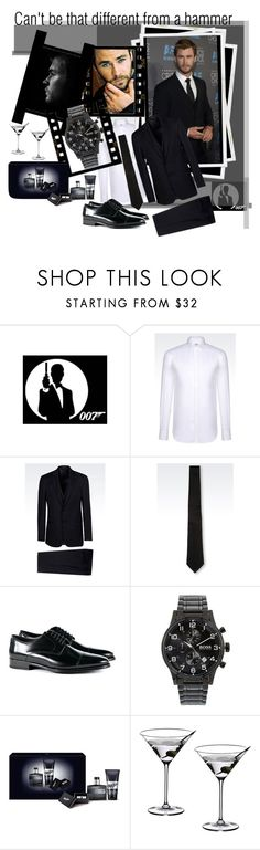 """""""Can't be that different from a hammer"""" by julyralewis ❤ liked on Polyvore featuring James Bond 007, Armani Collezioni, Dolce&Gabbana, BOSS Hugo Boss, Riedel, men's fashion and menswear"""