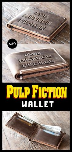 The Bad Mother F*cker Wallet is handmade using distressed leather. Christmas Gifts For Boyfriend, Boyfriend Gifts, Pulp Fiction Wallet, Leather Belts, Cowhide Leather, Homemade Gifts For Men, Monogram Maker, Best Stocking Stuffers, Handmade Leather Wallet