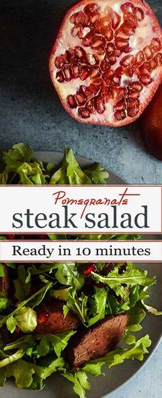 10-minute weeknight salad - steak, arugula and a pomegranate dressing.