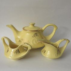 The Vintage Village - View Classified - Pearl China Gold Floral and Yellow Tea Set