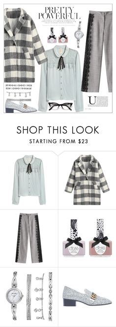 """""""Check It:Plaid"""" by alyssatama ❤ liked on Polyvore featuring Ciaté, Anne Klein and Gucci"""