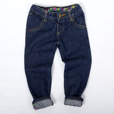 Tootsa MacGinty Ravi Jeans - Unisex jeans with colourful turn-up detail and bear poking out of back pocket.