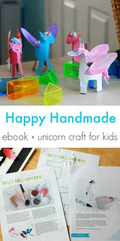 A fun unicorn craft for kids made out of toilet paper rolls! (plus a kids crafts ebook)