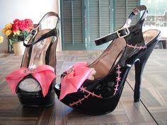 Stitched Up Doll Psychobilly heels SIZE 6. $72.00, via Etsy.  I like the stitch idea