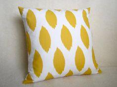 Ikat Decorative Pillow - Yellow - White - 18 inch - Ikat Pillow - Yellow Pillow - BOTH SIDES - Throw PIllow - Accent - Designer Pillow. $28.00, via Etsy.