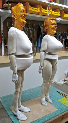 Mel and Barbie Titty, under construction, from Penny Plain, Ronnie Burkett Theatre of Marionettes