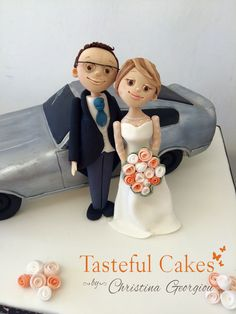 Personalised car, bride and groom cake topper