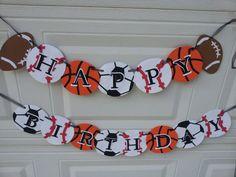 sports birthday banner football baseball soccer by partyinmypantry, $22.50