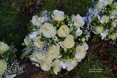 Hand Tied wedding bouquet with Avalanche Roses, Freesias, Veronica, Hypericum Berries by Tracy Qs Cornwall Wedding Flowers