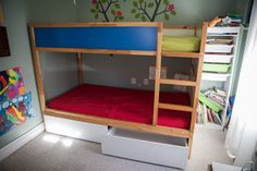 Hacking the KURA into a bunk bed with storage – IKEA Hackers – kura bed hack Bunk Beds With Storage, Wood Bunk Beds, Bunk Beds With Stairs, Kids Bunk Beds, Bed Storage, Storage Spaces, Drawer Storage, Kura Cama Ikea, Ikea Bunk Bed Hack