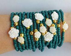 capas de verde Sacramento - pulsera - pulseras - joyas para estiramiento pulseras - pulseras blancas - festival - Primavera pulseras boho