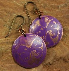 Copper Etched Metal Earrings Purple Butterfly by ccjewelrydesign, $22.00