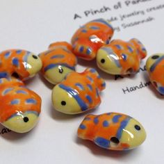 Orange Ceramic Fish BeadsPuffy Fish Beads by APinchofPanache, $7.85. To see my other unique supplies for sale, visit my online store:  https://www.etsy.com/shop/APinchofPanache
