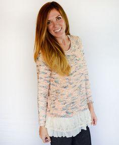 Pink & Blue Sequin Ruffle Sweater www.daisyshoppe.com