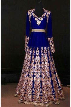 Royal Blue Velvet Gown