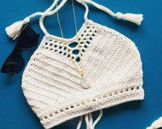 Womens White Crochet Bikini Top without Beaded Fringe. 2