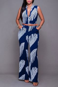 Best 12 Simple Cheap Chic, Shop Women's Feather Printed Elegant Button Loose Long Wide Leg Jumpsuits Romper online African Print Jumpsuit, African Dress, Moda Afro, Chic Outfits, Fashion Outfits, Fashion Styles, Summer Outfits, Chic Couture Online, Latest African Fashion Dresses