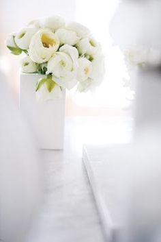 white flowers + vase